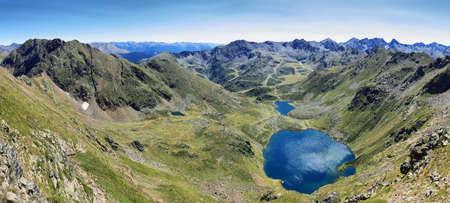 Tristaina high mountain lakes in Pyrenees. Andorra. Stock Photo