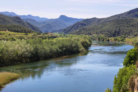 Ebro river from Miravet village in Catalonia, Spain Stock Photo