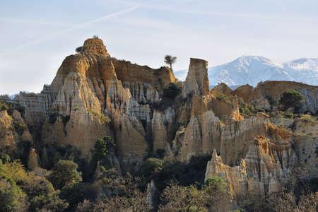 Les orgues dille sur tet with Canigou peak behind in Languedoc-Roussillon, France