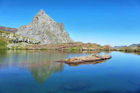 Anayet peak and Anayet lake in Spanish Pyrenees, Huesca, Spain.