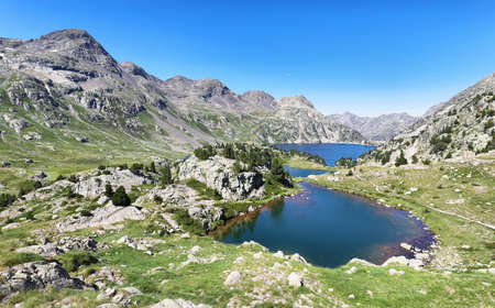 View of Ranas Lake and Respomuso lake in Tena Valley in The Pyrenees, Huesca, Spain.
