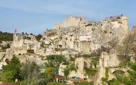 Les Baux de-Provence, France - April 19, 2019: Castle in renowned provençal village of Les Baux de-Provence, France