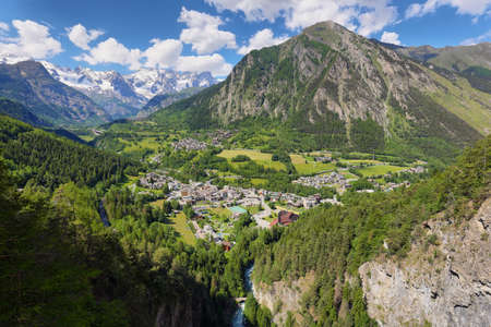 Voew of Pre Saint Didier town near Courmayeur and french border. Val d'Aosta region in italian Alps. Stock fotó