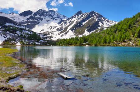 Glacial Arpy lake near Morgex, Aosta Valley, North Italy