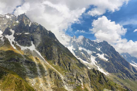 Alps mountain range view from Punta Helbronner Skyway, Aosta Valley in Italy