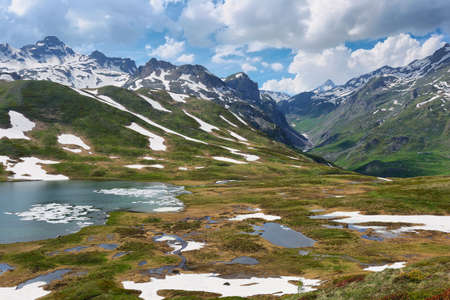 Scenic Alps and Verney Lake on The Little St Bernard Pass, Italy-France border