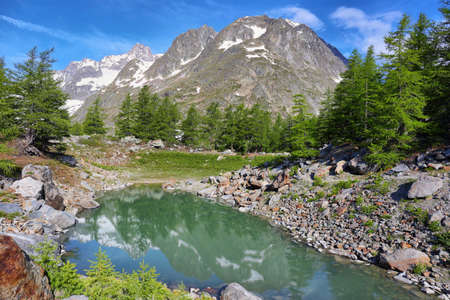 Alps of Italy, Veny Valley, Miage Lake in Aosta Valley, Italy Stock fotó
