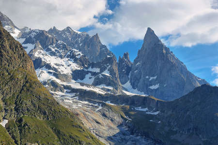 Val V�ny, Aosta Valley, Italy. Aiguille Noire peak standing out. Stock Photo - 128724845