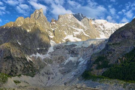 Brenva glacier and Aiguille noire de peuterey near Mont Blanc Skyway cable car station, Courmayeur, Aosta valley, Italy