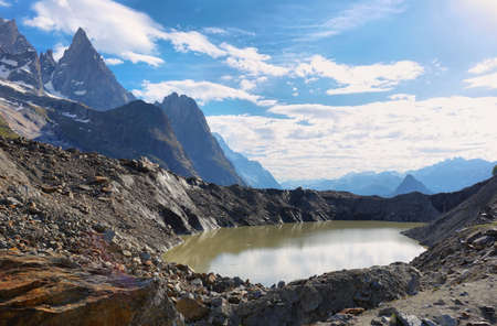 Val V�ny, Aosta Valley, Italy. Miage Lake and Aiguille Noire. This is an ice-contact lake at the end of the Miage Glacier (Mont Blanc Massif).