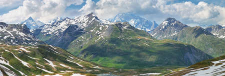 Panoramic view of Scenic Alps near Little St Bernard Pass, Italy-France border Stock Photo