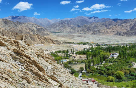 Views of desert and fields from Shey Palace in Ladakh region, northern India.