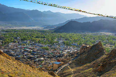Afternoon view of Leh city from Tsemo hill, Ladakh region of northern India Stock Photo