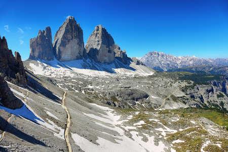 Tre Cime di Laveredo, three spectacular mountain peaks in Tre Cime di Lavaredo National Park, Dolomites, South Tyrol, Italy