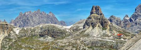 Rifugio Locatelli and Dolomites mountains in National Park Tre Cime di Lavaredo,Dolomites alps, South Tyrol, Italy