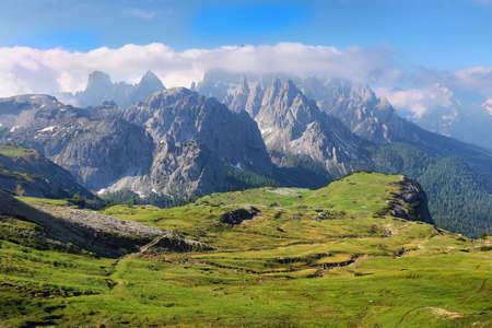 Great view of the top Cadini di Misurina range in National Park Tre Cime di Lavaredo. Dolomites, South Tyrol, Italy