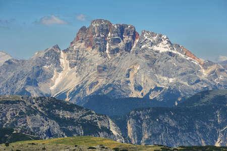 Great view mountain range in National Park Tre Cime di Lavaredo. Dolomites, South Tyrol, Italy Banco de Imagens