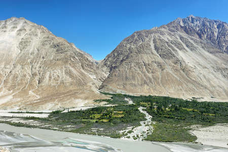 Shyok River and mountains in Nubra Valley, Ladakh, India 写真素材