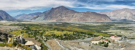 View of Nubra valley with Maitreya Buddha statue and Diskit gompa, Ladakh region, India