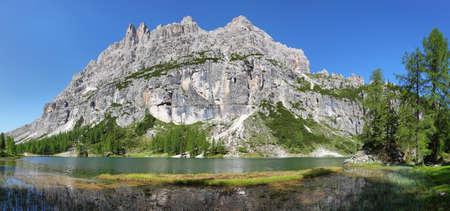 View on Federa Lake with Dolomites peak, Cortina DAmpezzo, South Tyrol, Dolomites, Italy, Europe