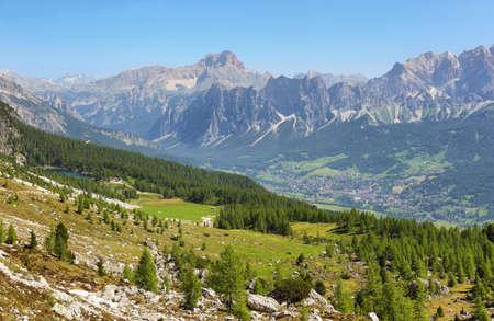 Distant massif of Croda di Lago and Federa lake from Forcella Ambrizola, Dolomite Alps, Italy