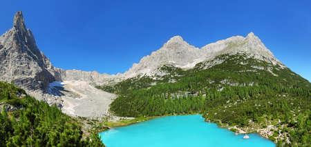 Turquoise Sorapis Lake with Dolomite Mountains, Italy alps, Europe