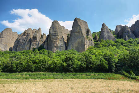 Unusual Rock Formations known as Penitents, Les Mees village, France Stock Photo