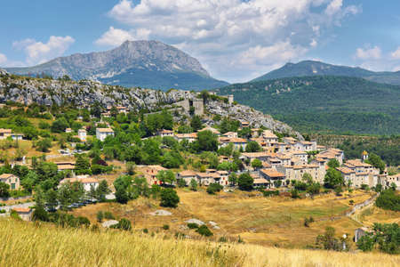 View medieval village of Trigance in Provence region, southern France, Europe