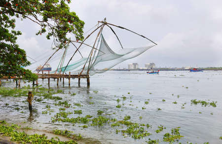 Tradional Chinese fishing nets in Cochin, Kerala, South India