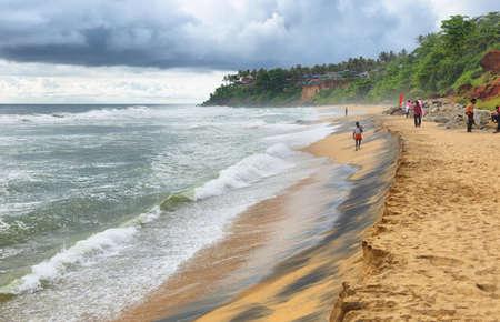 Varkala, India - September 24, 2019: Varkala tropical beach one of rhe most popular beaches in Kerala, South India