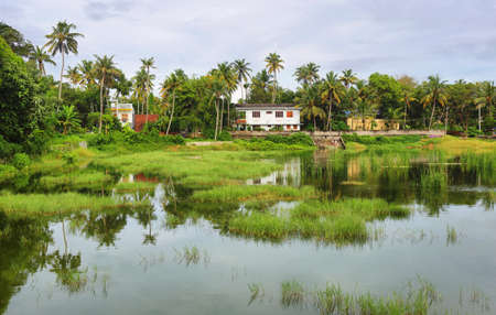 Lagoon in Varkala town, Kerala, South India