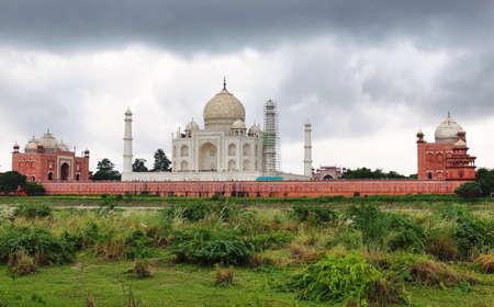 Taj Mahal from Yamuna river, Agra, Uttar Pradesh, India