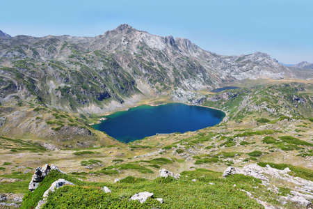 Views of Saliencia lakes in Somiedo natural park on the way to Calabazosa peak, Spain, Asturias, Spain