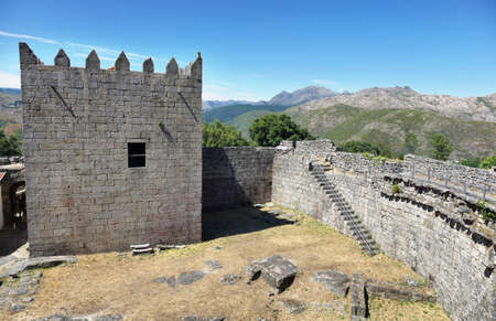 The Castle of Lindoso is a defense monument built in the 13th century, which has played an important role during periods of military conflict with Castela. Stock Photo