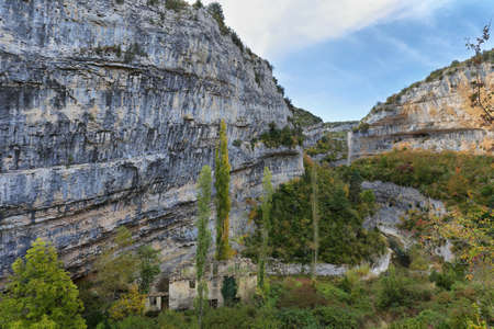 View of abandoned Lecina mill in Sierra de Guara gorge near Lecina village, Huesca province in Aragon, Spain