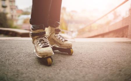 rollerskates: Aggressive roller skates. Riding rollerskates Stock Photo