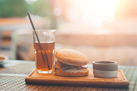 cheeseburger on the table. restaurant.