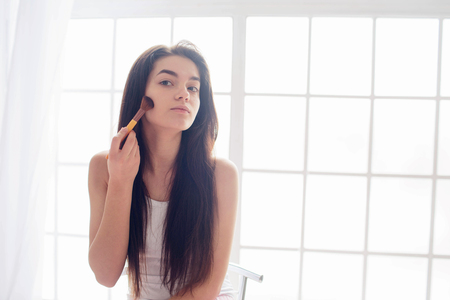 Skin care for a young woman and a morning makeup