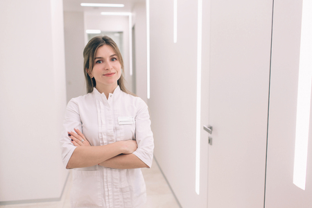 The Young nurse portrait against the background of the hospital Stock Photo