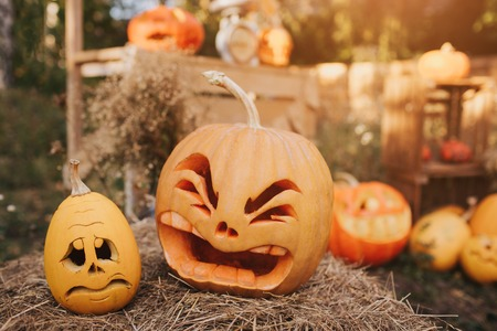 Ghost pumpkins on Halloween. ead Jack on an autumn background. Holiday outdoor decorations. Archivio Fotografico