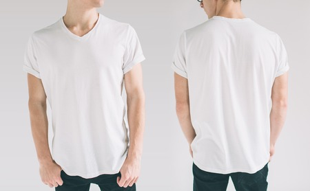 hirt design and people concept - close up of young man in blank white tshirt front and rear isolated. Mock up template for design print Stock Photo