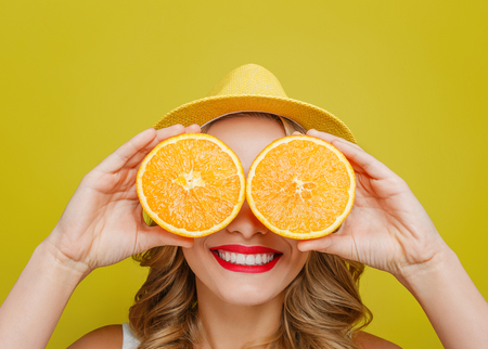 Funny and playful girl is covering her eyes with two pieces of one orange. She is smiling. Also girl wears yellow hat. Isolated on yellow background.