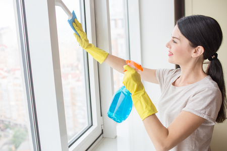 Nice and delightful girl stands in front of window and cleaning it with rag and blue liquid spray. 写真素材