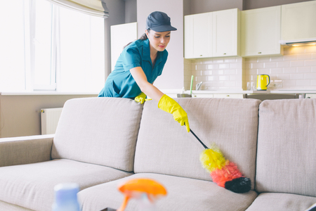 Careful and concentrated cleaner works in apartment. She uses dust brush on sofa. Girl cleans gentle. She is reaching far angles of sofa Stockfoto