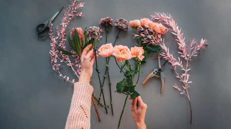 Picture of womans hands holding orange roses. Other meadow flowers and plants lying together with nippers. Isolated on grey background. 스톡 콘텐츠