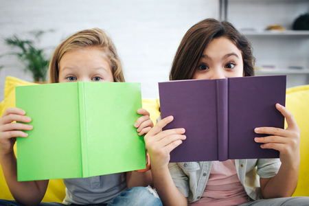 Two excited teenagers sit on yellow sofa in room. They look straight on camera. Girls cover their face with colorful notebooks. 写真素材