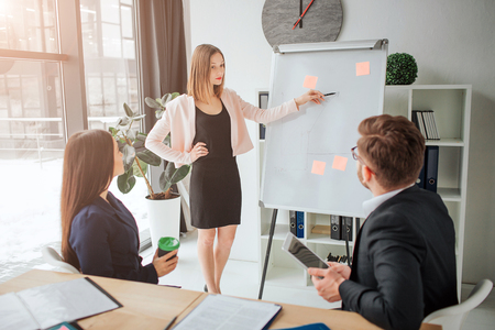 Young blonde woman making presenttion in meeting room. Her colleagues listen to her. They sit at table and look at flipchart. Blonde woman point on it. They work together.
