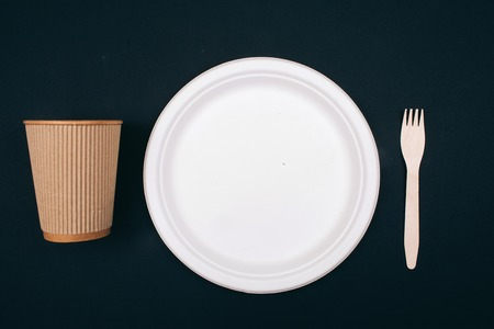 No to plastic. Wooden eco-friendly paper plate, cup and fork on dark background, top view. Time to change. New rules to reduce plastic waste, EU directive. Ban single use plastic. We can no longer pollute our planet Reklamní fotografie