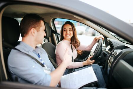Young woman taking auto test