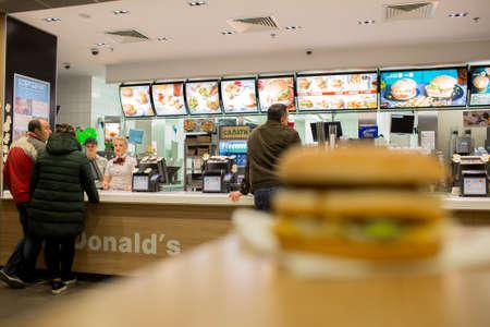 Kyiv, Ukraine - 2016: interior of McDonalds.  is the world largest chain hamburger fast food restaurants